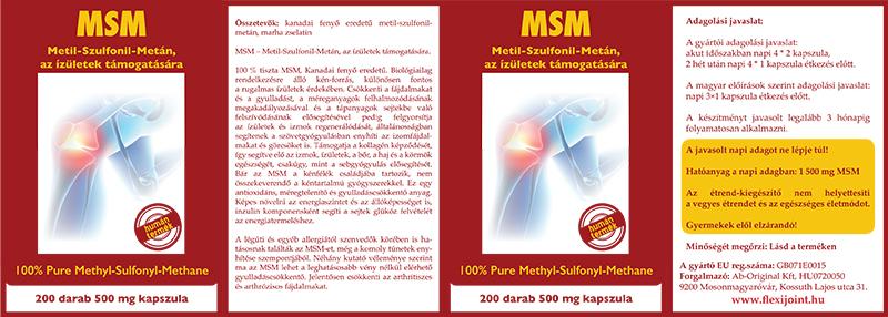 MSM (Metil-Szulfonil-Metán) az ízületek támogatására (kapszula)